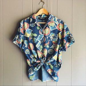 Vintage Denim Vacation Graphic Button Down Shirt